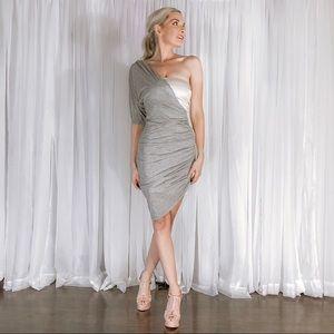 French Connection Dresses - French Connection Grey One Shoulder Pink Dress